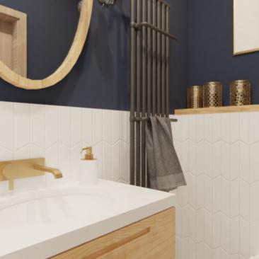 Granatowa łazienka inspiracje